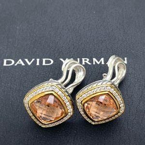 David Yurman 925 18K 11mm Morganite Earrings